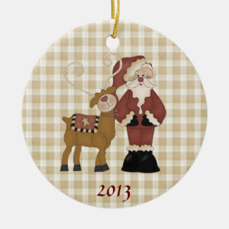 Country Santa and His Reindeer Double-Sided Ceramic Round Christmas Ornament