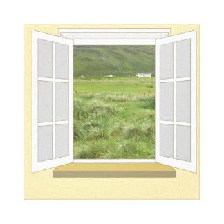 Country Scene in Ireland through Window Canvas Print