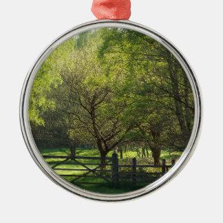 Country Scene Silver-Colored Round Decoration