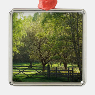 Country Scene Silver-Colored Square Decoration