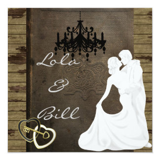 COUNTRY Silhouette Wedding  Invitation WITH ANTIQU