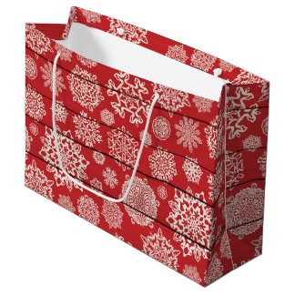 Country Snowflake faux wood large gift bag