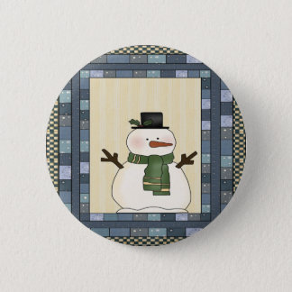 Country Snowman Christmas Button