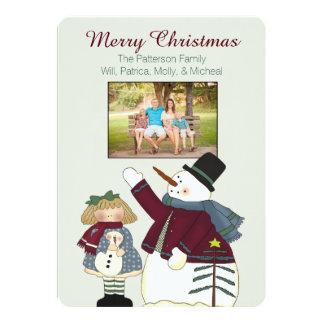 Country Snowman Christmas Photo Card 13 Cm X 18 Cm Invitation Card
