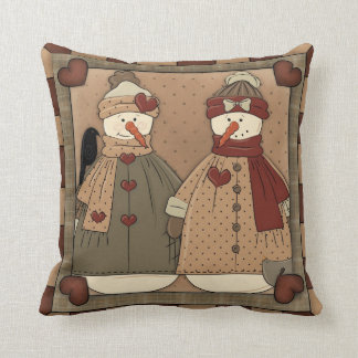 Country Snowman Holiday Throw Pillow Cushion