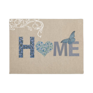 Country Style Home Collage Blue Butterfly Doormat
