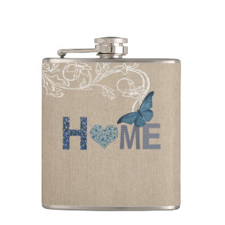 Country Style Home Collage Hip Flask