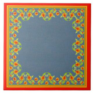 Country Style Marigolds Border Ceramic Tile