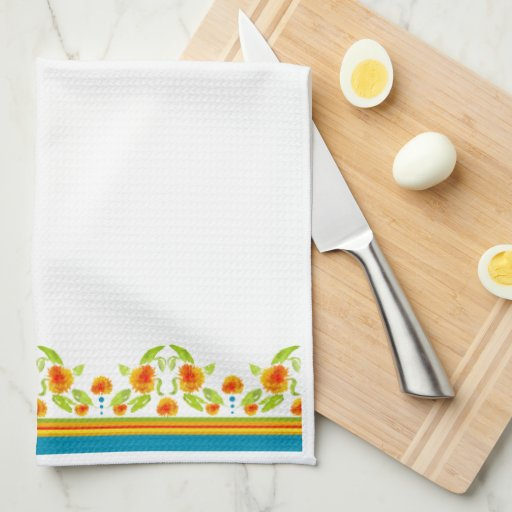 Country Style Marigolds Border Kitchen Towel