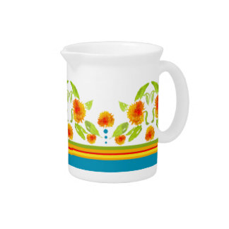 Country Style Marigolds Border Pitcher or Jug