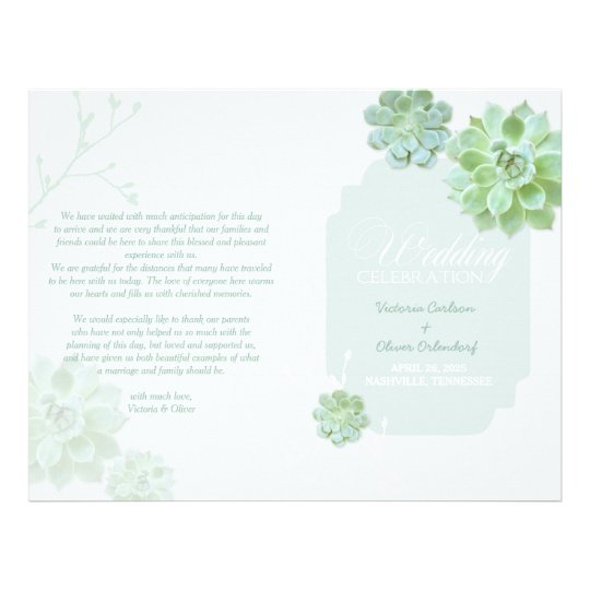 Country Succulent Cactus Wedding Bi Fold Program Flyer