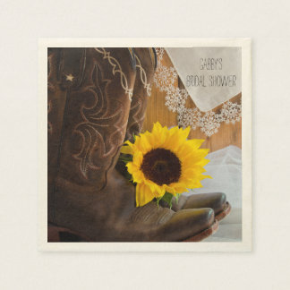Country Sunflower and Lace Bridal Shower Paper Napkin