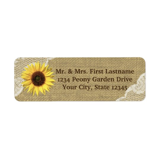 Country Sunflower and Lace Return Address Label