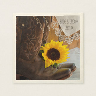 Country Sunflower and Lace Western Wedding Disposable Napkin