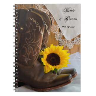 Country Sunflower and Lace Western Wedding Notebooks