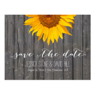 Country Sunflower Barn Wood Wedding Save the Date Postcard