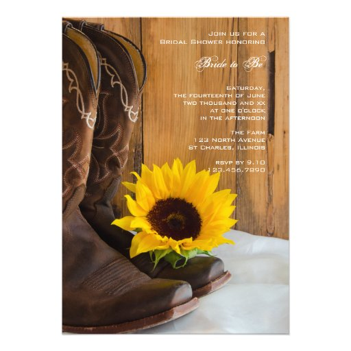 Country Sunflower Bridal Shower Invitation Announcements