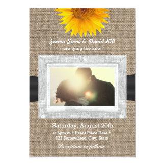 Country Sunflower & Burlap Custom Photo Wedding 13 Cm X 18 Cm Invitation Card
