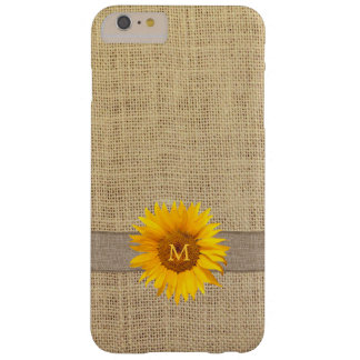 Country Sunflower & Burlap Monogram Barely There iPhone 6 Plus Case