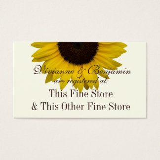 Country Sunflower Gift Registry Info Business Card