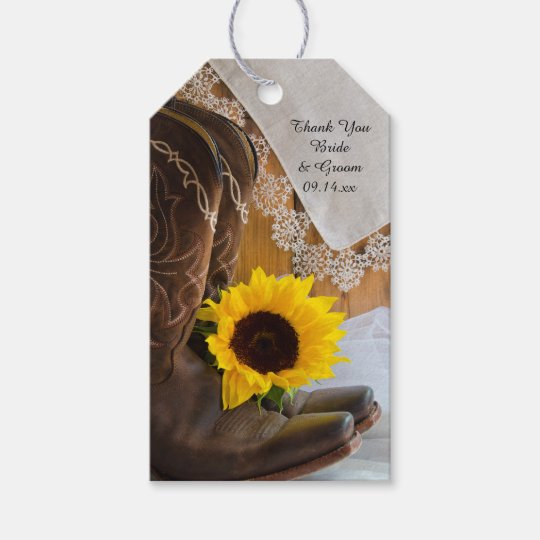 Country Sunflower Lace Western Wedding Favour Tags