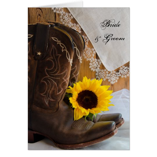 Country Sunflower Lace Western Wedding Invitation