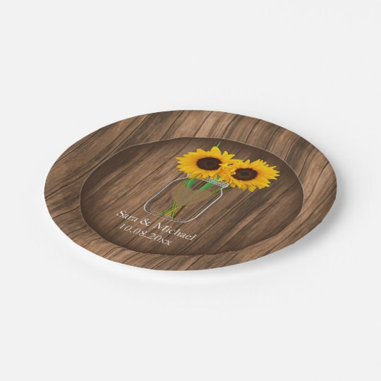 Country Sunflower Mason Jar Paper Plate
