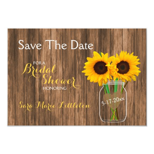 Country Sunflower Mason Jar Save the Date Card