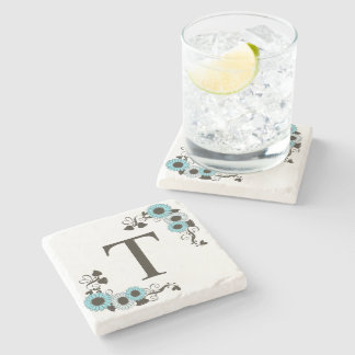 Country Sunflower Monogram Aqua Stone Coaster