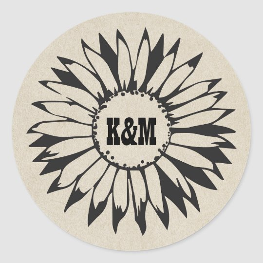 Country Sunflower Rustic Wedding Classic Round Sticker