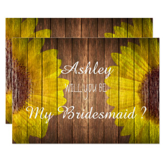 Country Sunflower Rustic Will you be my Bridesmaid 9 Cm X 13 Cm Invitation Card