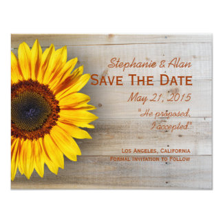 Country Sunflower Save The Date Card Custom Invite