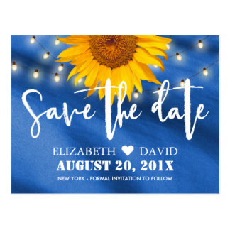 Country Sunflower & String Lights Save the Date Postcard