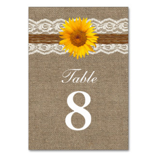 Country Sunflower Twine Lace & Burlap Wedding Table Card