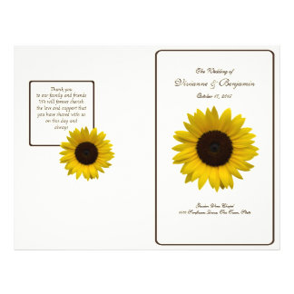 Country Sunflower Wedding Program Flyer