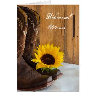 Country Sunflower Wedding Rehearsal Dinner Invite Card