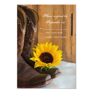 Country Sunflower Wedding Response Card 9 Cm X 13 Cm Invitation Card