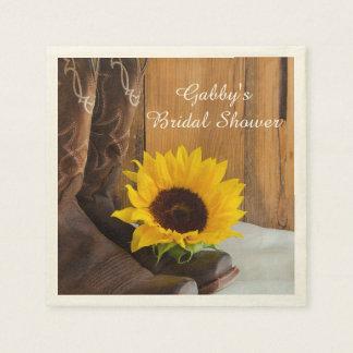 Country Sunflower Western Bridal Shower Paper Serviettes