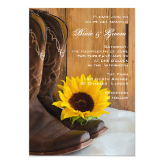 Country Sunflower Western Wedding 13 Cm X 18 Cm Invitation Card