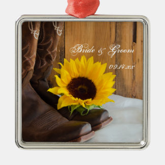 Country Sunflower Western Wedding Christmas Ornament