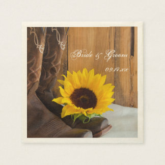 Country Sunflower Western Wedding Disposable Napkins