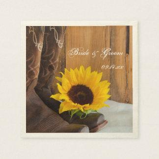 Country Sunflower Western Wedding Disposable Serviette
