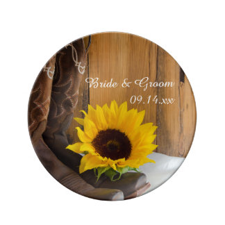 Country Sunflower Western Wedding Keepsake Plate