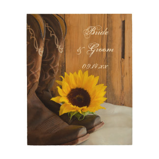 Country Sunflower Western Wedding Keepsake Wood Print