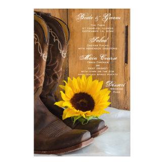 Country Sunflower Western Wedding Menu Stationery Paper