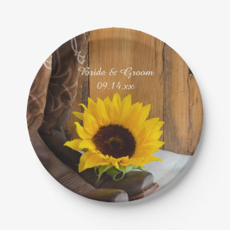 Country Sunflower Western Wedding Paper Plate