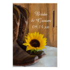 Country Sunflower Western Wedding Poster