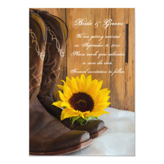 Country Sunflower Western Wedding Save the Date 13 Cm X 18 Cm Invitation Card