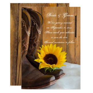 Country Sunflower Western Wedding Save the Date Card