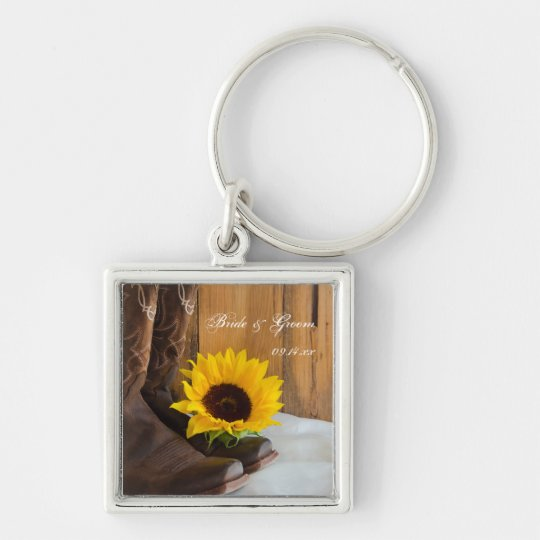 Country Sunflower Western Wedding Silver-Colored Square Key Ring